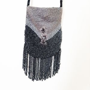 Small beaded embroidered floral crossbody bag